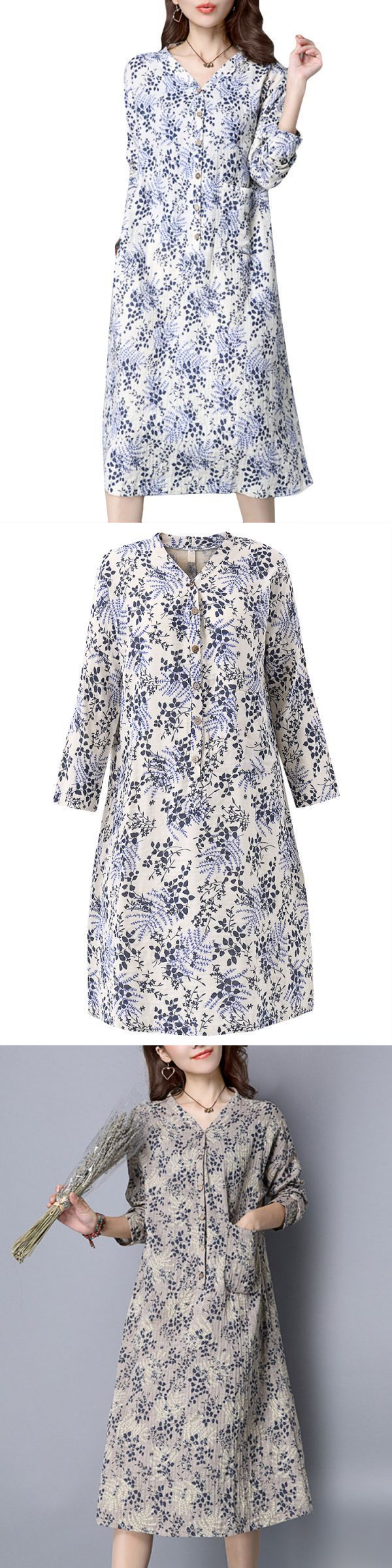 Casual dresses under 10 dollars vintage women long sleeve floral printing loose dress #casual #dresses #design #2017 #casual #dresses #empire #waist #casual #dresses #house #of #fraser #casual #dresses #juniors #cheap