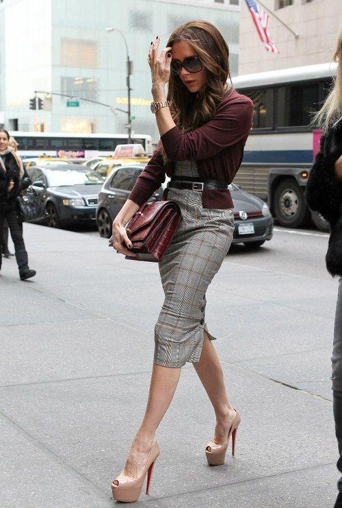 VB - Corporate chic...Burgundy sweater, grey window pane dress, nude platform louboutins.
