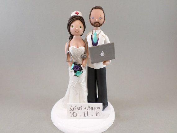 Custom Handmade Nurse & Computer Geek Wedding Cake Topper