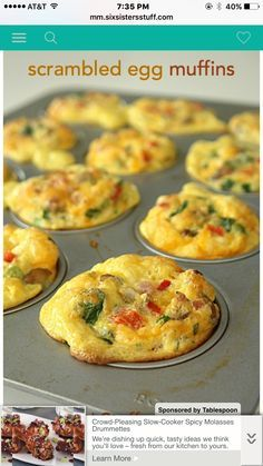 Egg Muffins Makes 6 muffins  Spray muffin pan Add any omelet fixings you want--chopped up Top with cheese  Mix together in a bowl 4 eggs 1/2 T baking powder 1/2 T olive oil  1/4 cup milk Salt n pepper  Bake @ 375 for 20-25 min