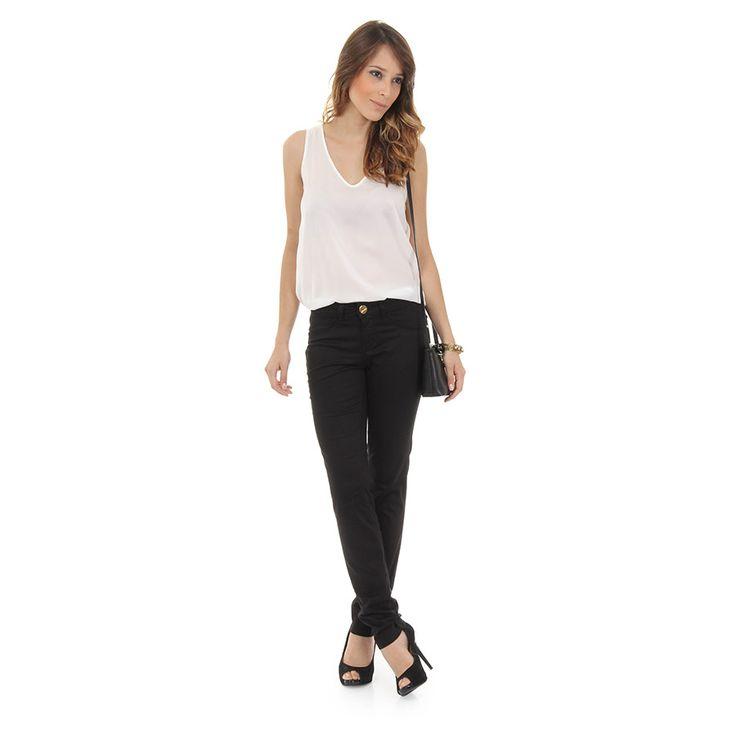 Calça Skinny Sarja C/ Elastano Denuncia Jeans 201322812 - Preto - Passarela.com