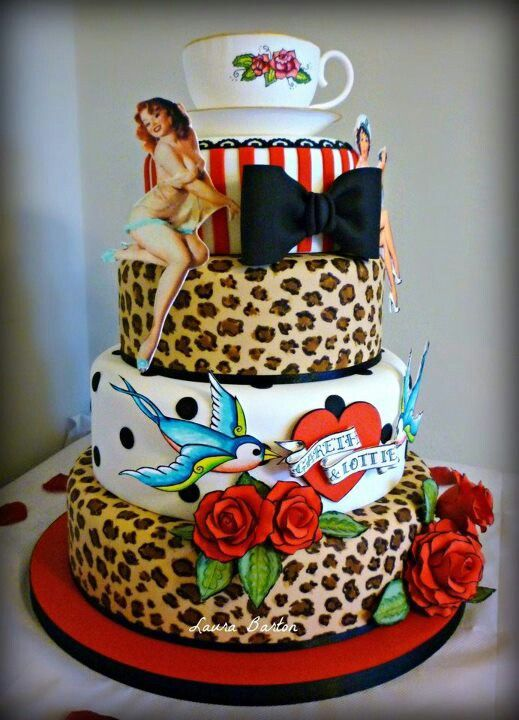 Rockabilly Wedding Cake - Leopard, sparrows, stripes, bow, roses and pin-up lady.