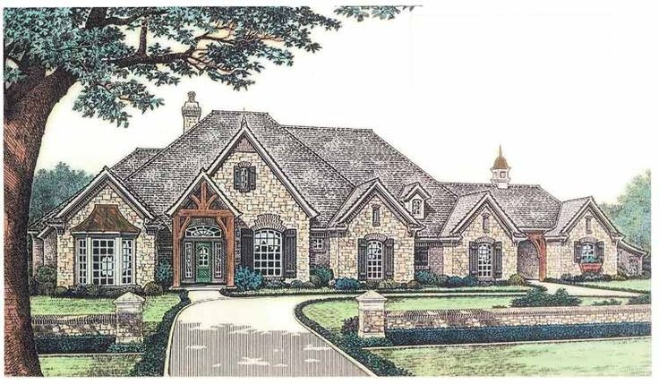 French Country House Plan with 3423 Square Feet and 4 Bedrooms from Dream Home Source | House Plan Code DHSW55025