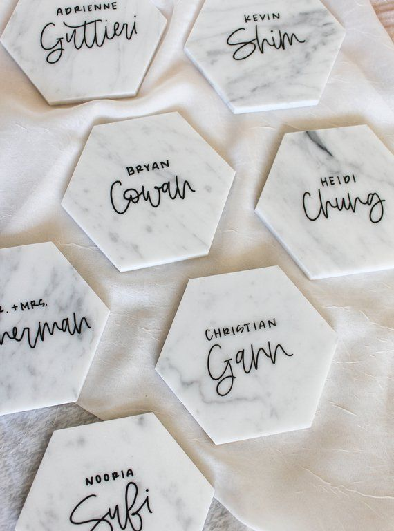 wedding event handwritten place cards personalized wedding favors natural marble slices personalized coaster