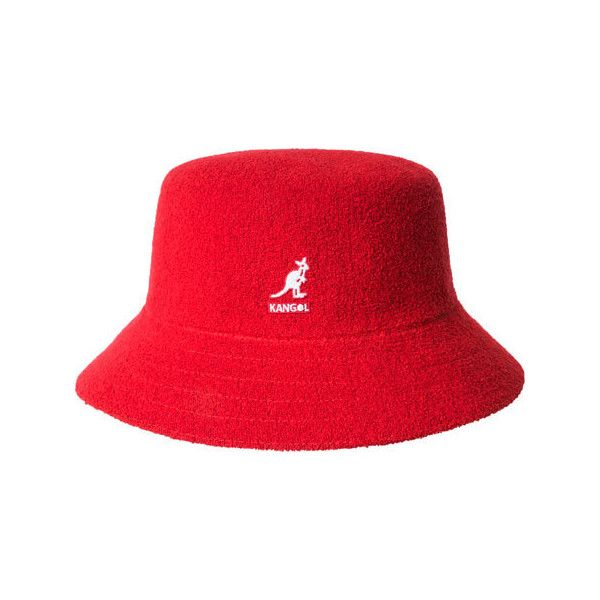 Kangol Bermuda Bucket - Scarlet ($60) ❤ liked on Polyvore featuring accessories, hats, red, fishing hat, kangol, red bucket hat, nylon hat and red hat
