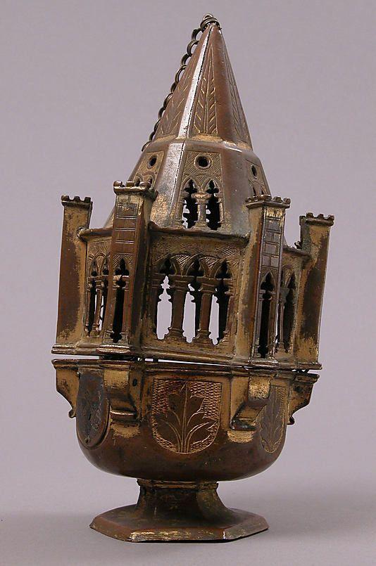 Incensario Fecha: siglo 15 Cultura: Medium italiano: cobre-dorado, esmalte champlevé