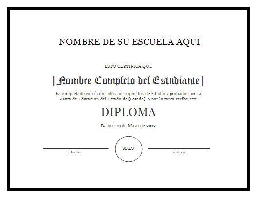 Modelo de Diploma - Para Imprimir Gratis - ParaImprimirGratis.