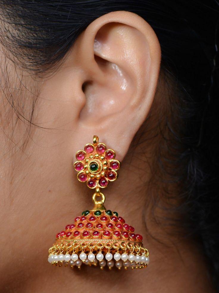 Antique Kemp Jhumka, Gold Plated Jhumka, One Gram Gold Jhumka Design