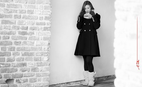 Maria in the morning light at the Bastion in Timisoara - Black&White