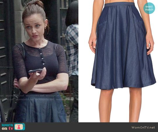 Rory's blue circle skirt on Gilmore Girls: A Year in the Life.  Outfit Details: https://wornontv.net/63626/ #GilmoreGirls