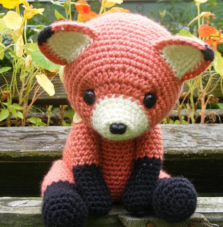 "Cinnabar is a sweet, shy little fellow, looking for a new friend. Standing at 15"" in total, and sitting at 10"", he's the perfect size for a cuddly playmate. Cinnabar is made from acrylic yarn and h...                                                                                                                                                                                 More"