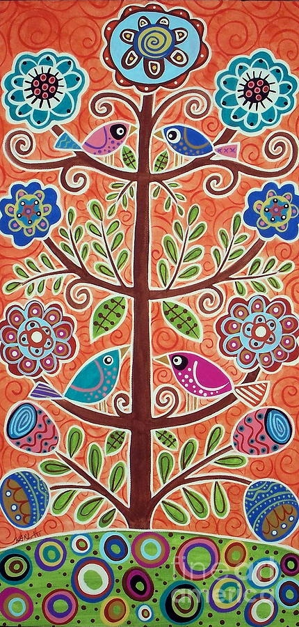 4 Tree Birds Painting - 4 Tree Birds Fine Art Print