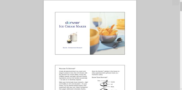 Donvier Ice Cream maker instructions in PDF
