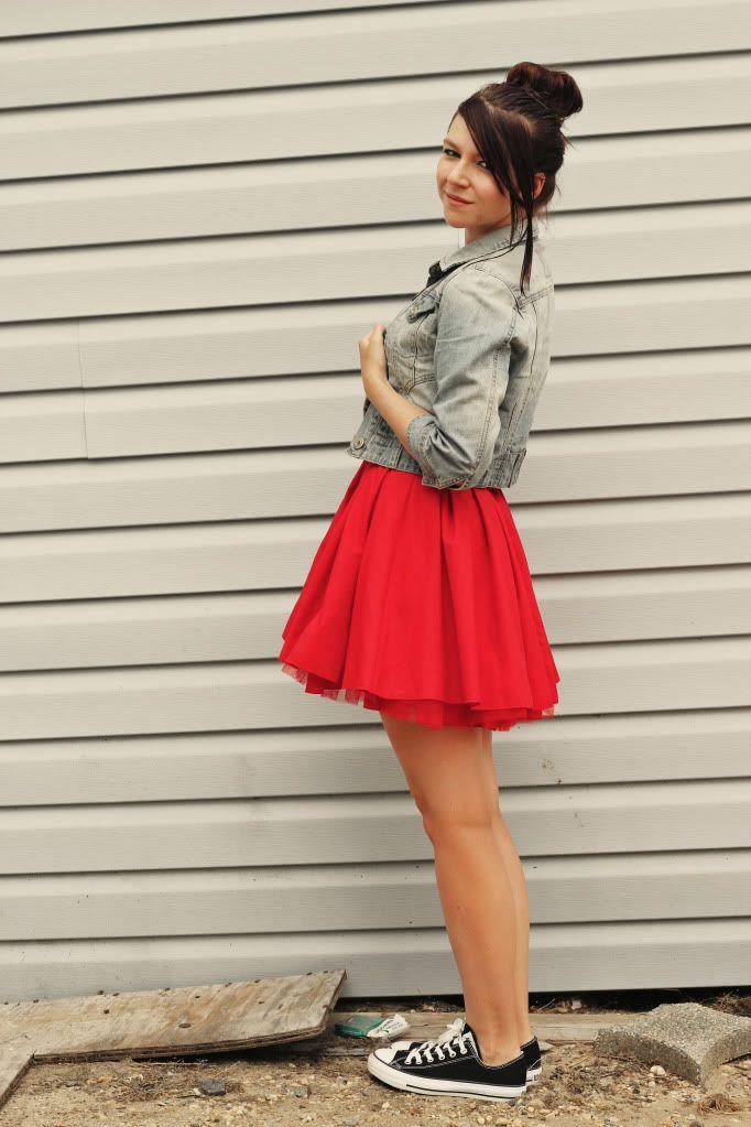 Denim Red Sneakers Girl Next Door Fashion Sneakers