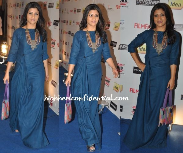 Also at the do was Konkona, who for the evening picked a Payal Khandwala dress to wear. Peep-toe pumps and a statement necklace finished out her look. The only sour note came via the bag she carried. If a clutch was not her scene, instead of that bag, would've much rather seen a potli (which …
