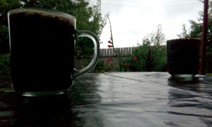 Morning coffee Rainy summer day