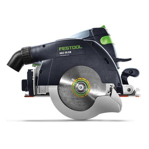 Side profile of a Festool HKC EB cordless circular saw.