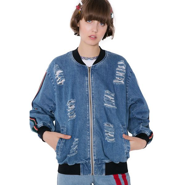 Street Smarts Distressed Denim Bomber Jacket ($78) ❤ liked on Polyvore featuring outerwear, jackets, blouson jacket, bomber jackets, striped jacket, style bomber jacket and blue jackets