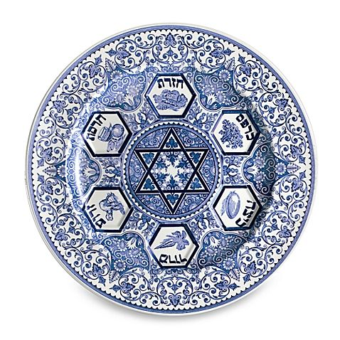 High-quality earthenware has various shades of blue on a soft ivory background. The design of the pieces draws from the rich Jewish history.