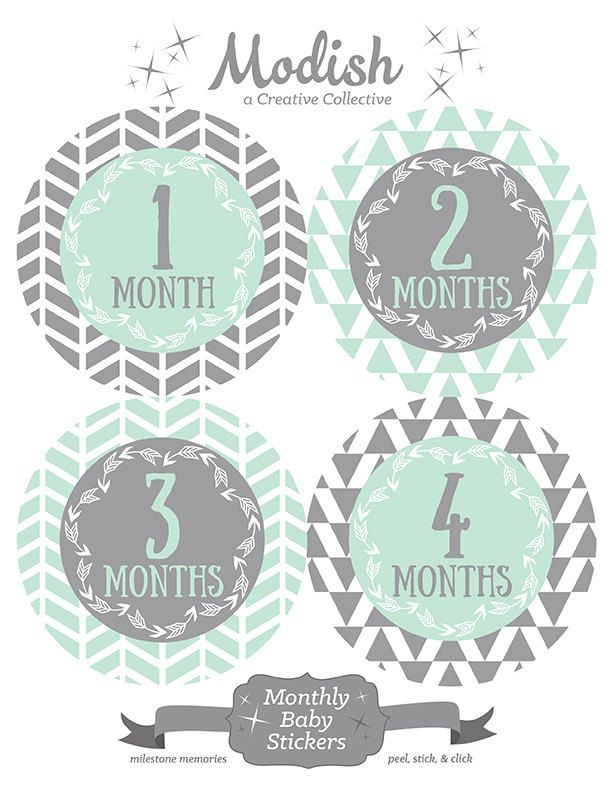 FREE GIFT, Monthly Onesie Stickers for Gerber Onesies®, Monthly Baby Stickers, Baby Month Stickers, Gender Neutral, Mint, Gray, Grey, Tribal