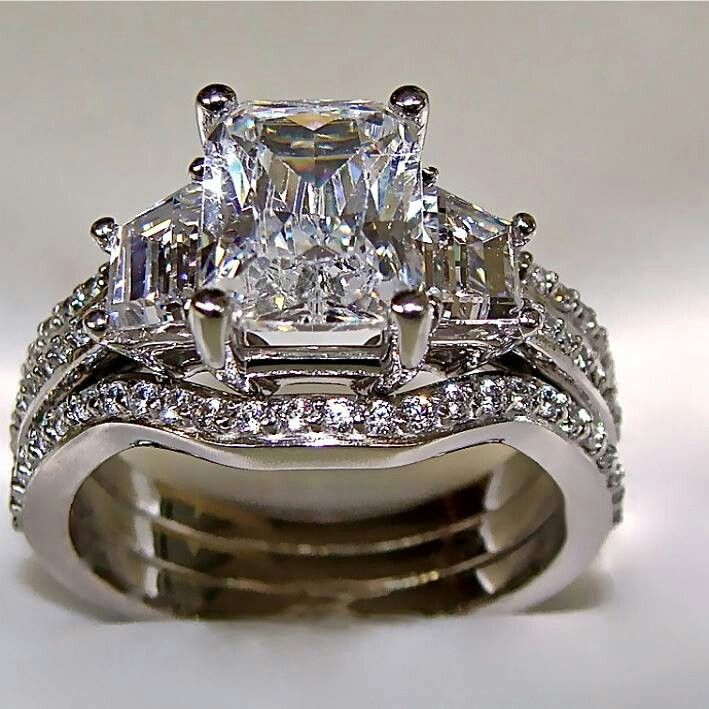 Radiant Cut Engagement Ring With 2 Matching Wedding Bands Solid Gold In Jewelry Watches Rings