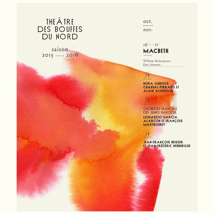 Red and orange watercolour The acirc tre des Bouffes du Nord poster by Violaine amp J eacute r eacute my