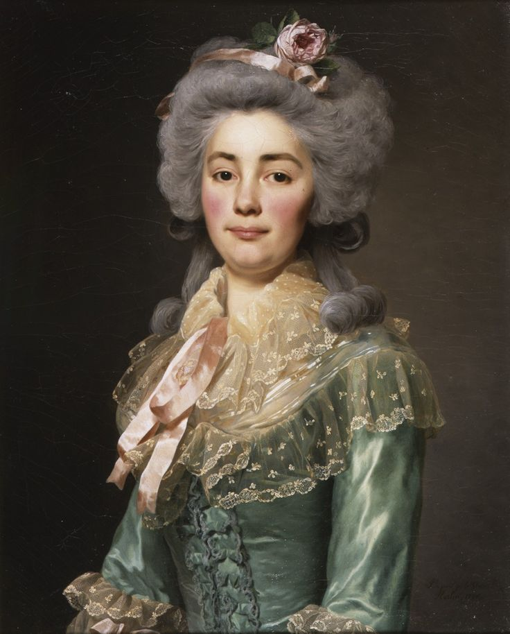 """Porträtt """"présumé"""" av Mademoiselle de Fontenay iklädd djupturkos klänning i siden, spetskrage, spetsmanschetter och rosa sidenband - midjebild Signerad och daterad: Pt. a paris p. le chev. /Roslin. 1784."""