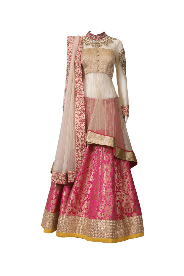 White sheer anarkali with divine pink lehenga