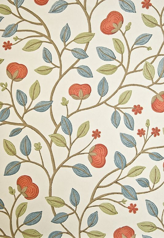 Medlar Wallpaper Cream wallpaper with medlar fruit tree print in Aqua, Green and Mandarin.