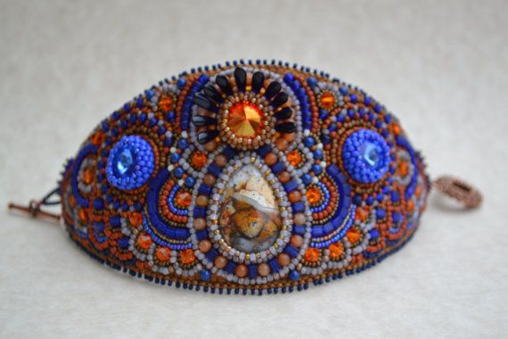 Bead Embroidered Bracelet Bead Embroidered Cuff by corporateschmad