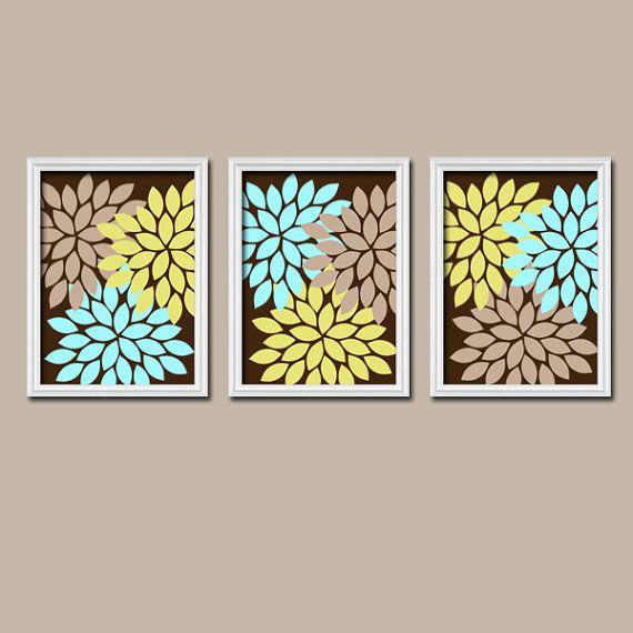 Bathroom Wall Decor Aqua : Brown beige aqua blue lime green flower burst dahlia