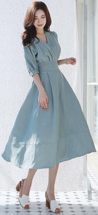 StyleOnme_Balloon Sleeve Wrap Style Long Dress #blue #stylish #dress #feminine #koreanfashion #kstyle #kfashion #springtrend #dailylook