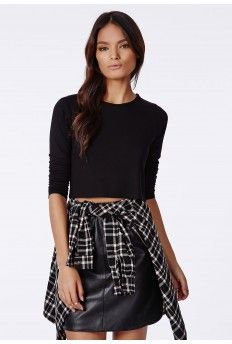 Maile Long Sleeve Cropped Jersey Black