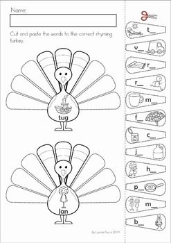 Kindergarten Thanksgiving Math & Literacy Worksheets and Activities. A page from the unit: turkey feather rhyming cut and paste activity.