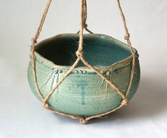 Light Blue Green Hanging Planter, Handmade Hemp Hanger, Wheel Thrown Pottery, Flower Pot