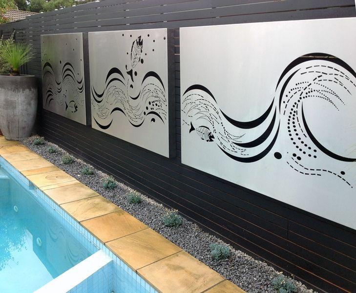 Stainless steel wall art panels by the pool by for Stainless steel wall art