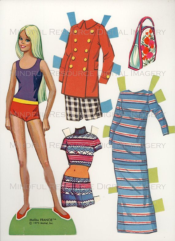 Printable Vintage Fashion Paper Doll Malibu Francine Dress Ensembles and Accessories by mindfulresource, $5.00 A true friend of Malibu Barbie paper doll, Malibu Francie paper doll (1973) is just as fashionable. She has lovely long blond hair and a plethora of high fashion clothes and accessories. She's into way and 70s fashion.