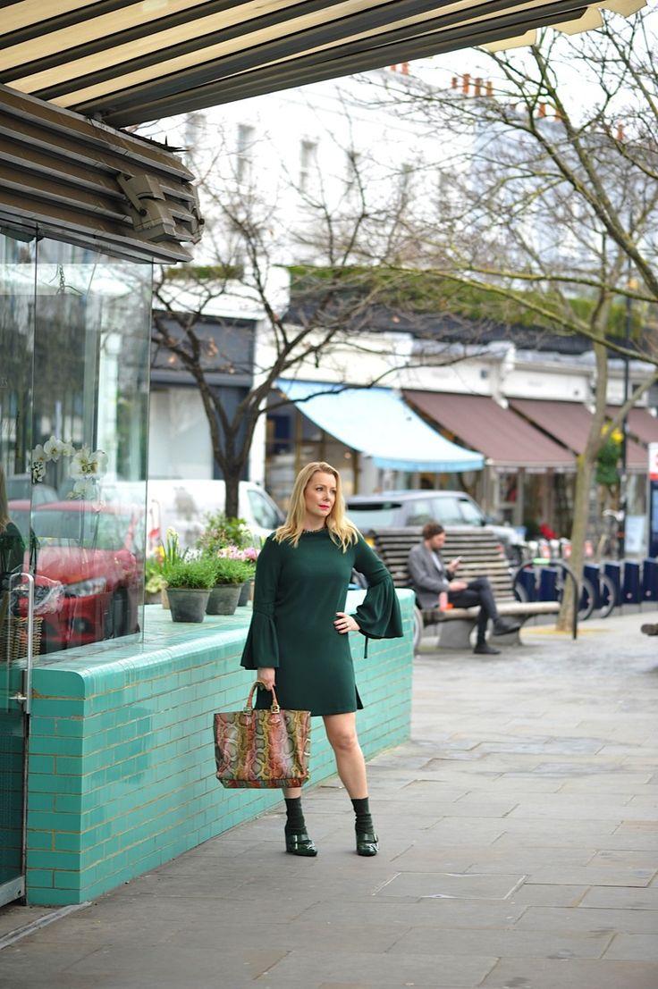 Green Finery bell sleeved dress