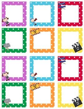 Here are movie themed blank calendar squares. The squares are 2.5 inches. Please remember to leave feedback and rating. These coordinate with other...