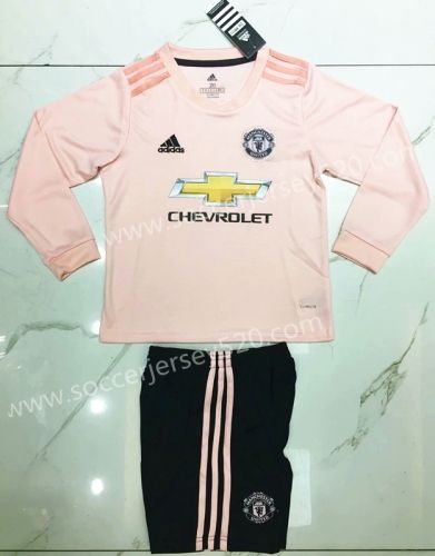 fc9d99a3408 2018-19 Manchester United Away Pink LS Kids Youth Soccer Uniform ...