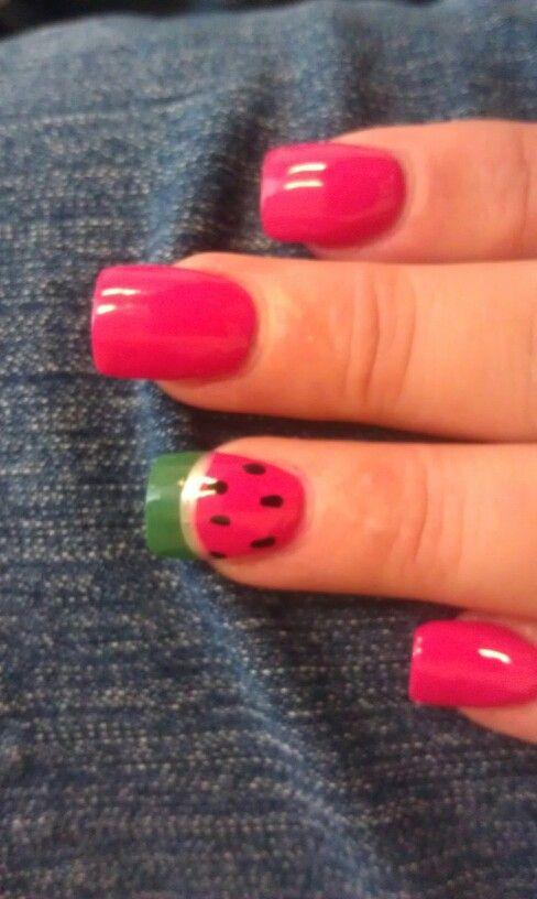 Watermelon nails #nails #manicure #nail_art #watermelon #summer_nails