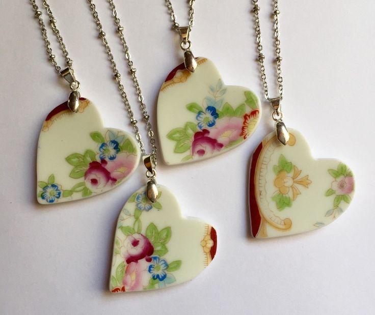 Bridal Heart Necklace Set - Broken China Jewelry