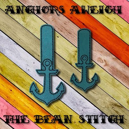 Anchors Aweigh - Includes Two(2) Sizes!  #thebeanstitch #beanstitchers #TBS #ith #inthehoop #machineembroidery #felties #feltie #embroidery #digitaldownload #keyfobs #bagtag #diy #snaptab #snapbean #handmade #vinyl #felt #craft #etsy #shopsmall #embroiderygift #travel #everyday #design #multipurpose #anchor #nautical #ship #sailor #sea #keychain