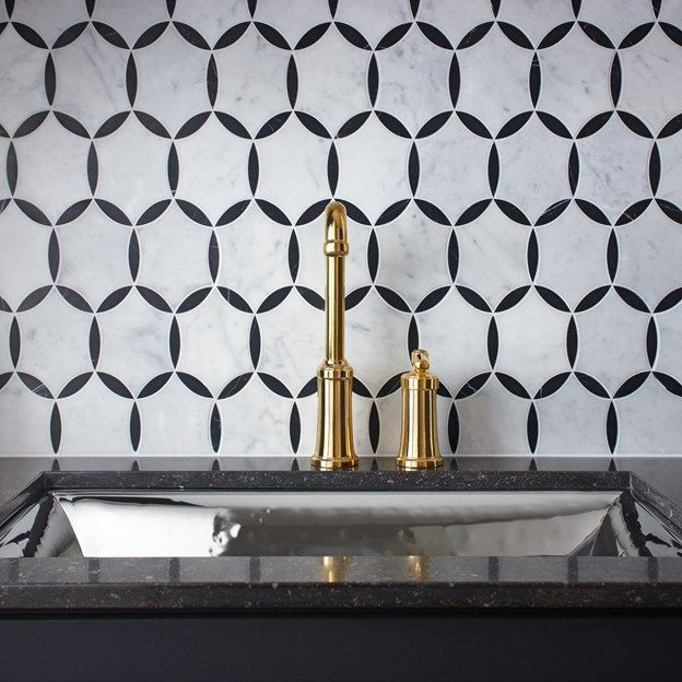47 best timelessly bold patterns images on pinterest stone mosaic benton mosaics marble tile collection in circles pattern with cararra and nero marquina fixtures and sink are by kallista plumbing publicscrutiny Images