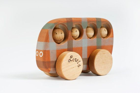 Personalized Wooden School Bus safe kids toy with checked ornament on Etsy, $33.00