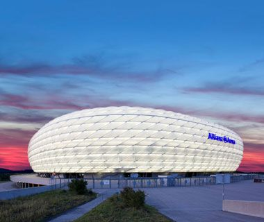 Allianz Arena, Munich  Herzog and de Meuron's steel and concrete arena was the crown jewel of the 2006 FIFA World Cup. Today it packs in 69,000 fans for Bayern München and 1860 Munich soccer matches.