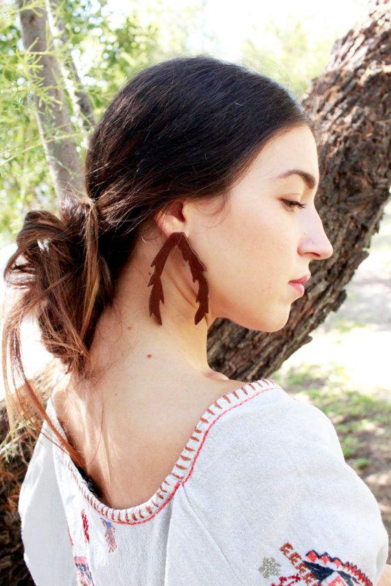 Branch earrings woodland jewelry deer wooden by TACEHandmade