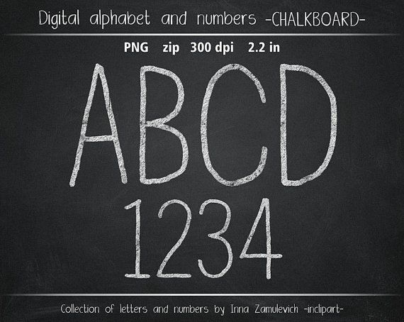 Chalkboard alphabet clip art. Chalk letters & numbers by inclipart