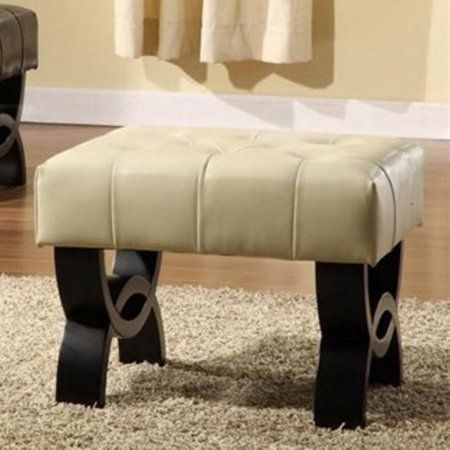Central Park 24 inch Tufted Leather Ottoman, Multiple Colors, White