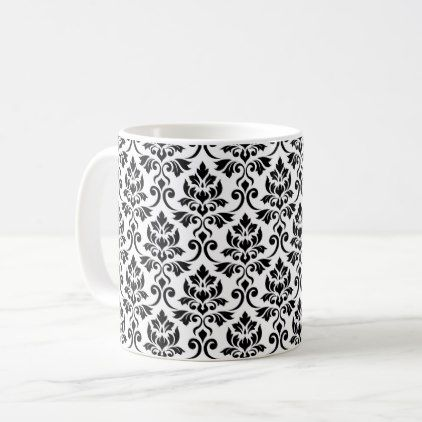 Feuille Damask Pattern Black on White Coffee Mug - black and white gifts unique special b&w style